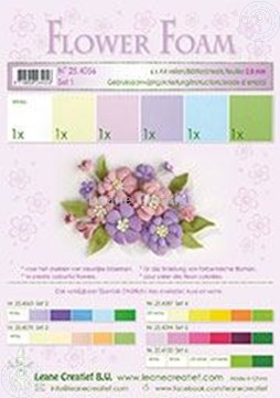 Afbeeldingen van Flower foam set 1 pastel kleuren