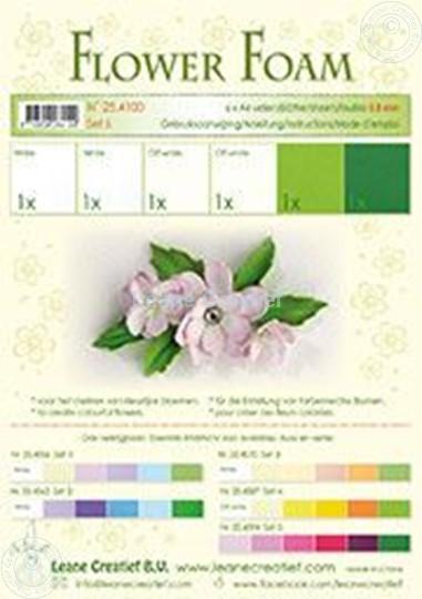 Afbeelding van Flower foam set 6 wit/groen