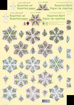 Bild von Rosetten Schneideblätter Blumen rot/blau