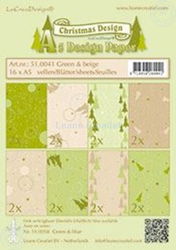 Afbeeldingen van Design papier Christmas Green & Beige A5
