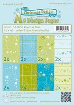 Afbeeldingen van Design papier Christmas Blue & Green A5
