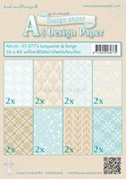 Image de Feuilles décorées Turquoise & Beige A5