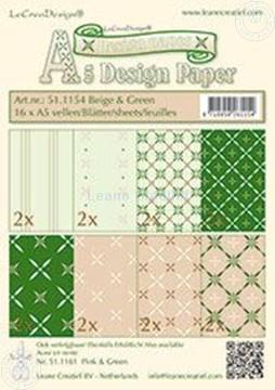 Afbeeldingen van Design papier beige & groen A5