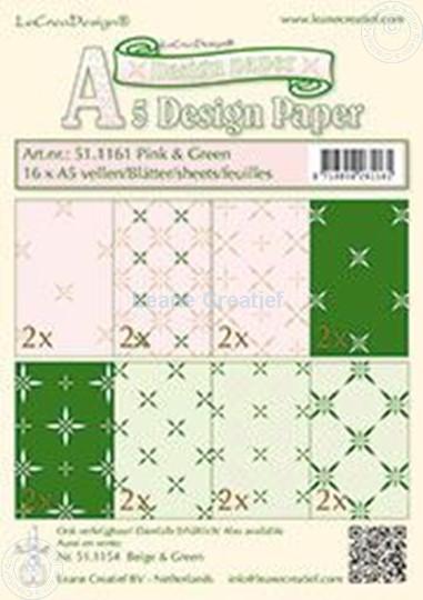 Image sur Feuilles décorées rosa & vert A5