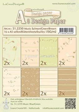 Afbeeldingen van Design Paper Music salmon/green/brown
