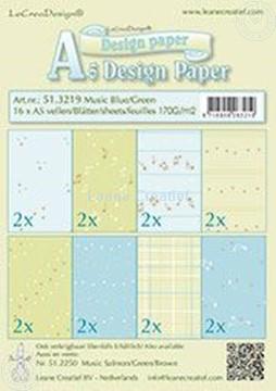 Afbeeldingen van Design Paper Music blue/green