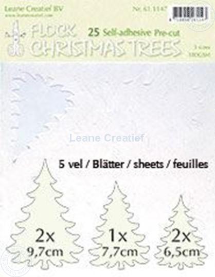 Image sur 25 white Flock trees pre-cut & self-adhesive