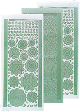 Picture of LeCreaDesign® flower stickers / peel offs pearl green
