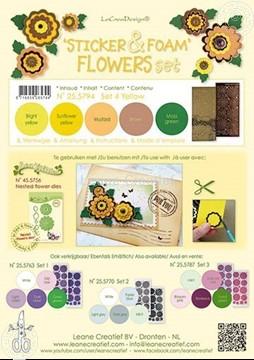 Bild von Sticker & Foam Blumen Set 4 Gelb
