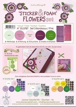 Bild von Sticker & Foam Blumen Set 3 bordeaux rosa