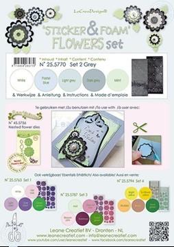 Bild von Sticker & Foam Blumen Set 2 Grau
