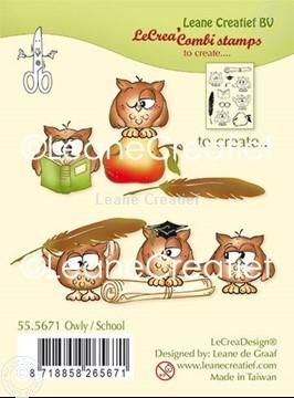 Afbeeldingen van Combi clear stamp Uil - School