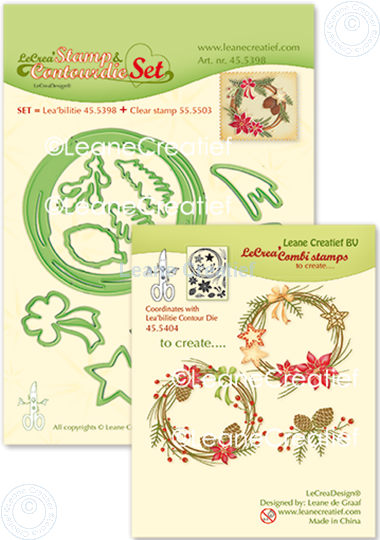 Picture of Set Stamp & Contour Die Wreath X-mas