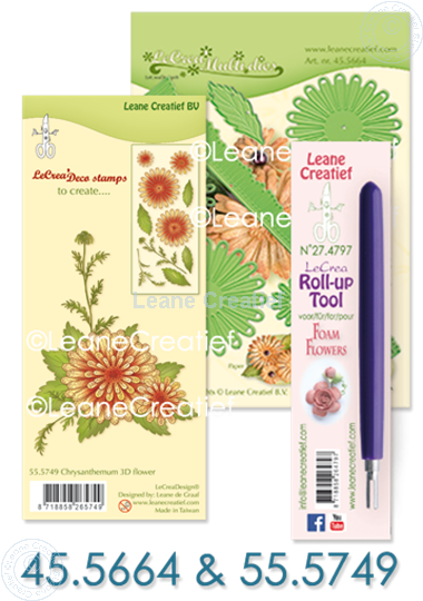 Afbeelding van Multi die & Clearstamp Chrysant & Roll-up tool
