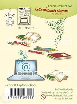 Afbeeldingen van Combi clear stamp Laptop - School