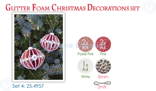 Picture of Glitter Foam Christmas Decorations Set 4