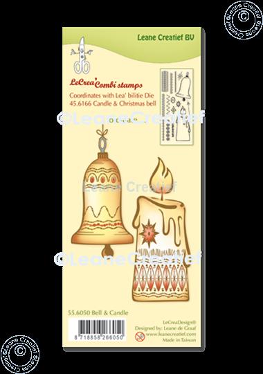 Afbeelding van LeCreaDesign® combi clear stamp Kerstbel & Kaars