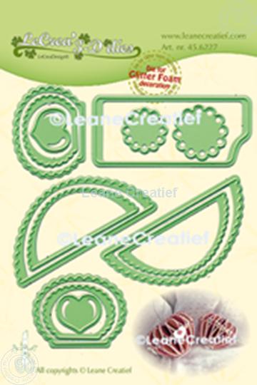 Afbeelding van Lea'bilitie® Glitter Foam decoratie  Hart gekartelde rand  snijmal