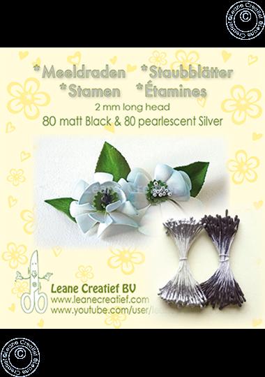 Afbeelding van Meeldraden 2mm,  80 matt black & 80 pearl  silver