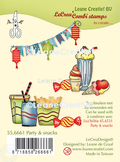 Image sur LeCreaDesign® combi tampon clair Party & snacks