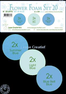 Image de Flower Foam set 20 /6x feuille A4/3 teintes de Bleu