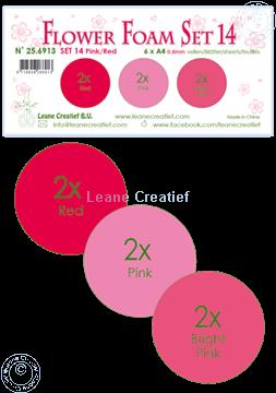 Image de Flower Foam set 14 /6x feuille A4/3 teintes de Pink-Rouge