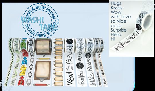 """Afbeelding van Washi tape Engelse teksten """"Hugs"""", 20mm x 5m."""