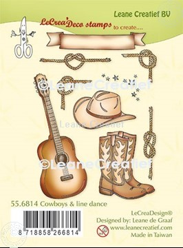 Afbeeldingen van LeCreaDesign® combi clear stamp Cowboys en Line dance