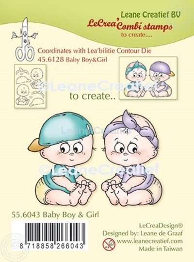 Bild von LeCreaDesign® Kombi Silikon Stempel  Baby Junge und Mädchen