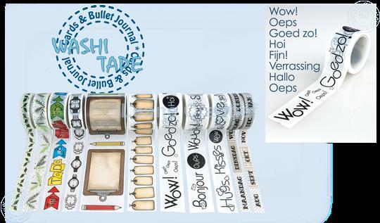 "Afbeelding van Washi tape Nederlandse teksten 1 ""Wow"", 25mm x 5m."