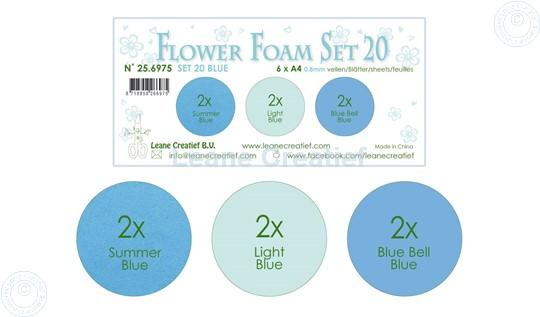 Bild von Flower Foam Set 20 /6x A4 Blatt /3 Farbtöne Blau