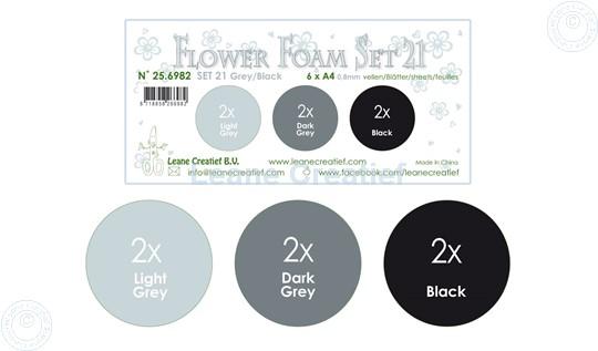 Bild von Flower Foam Set 21 /6x A4 Blatt /3 Farbtöne Grau-Schwarz