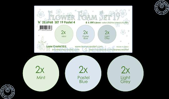 Bild von Flower Foam Set 19 /6x A4 Blatt /3 Farbtöne Pastel 4