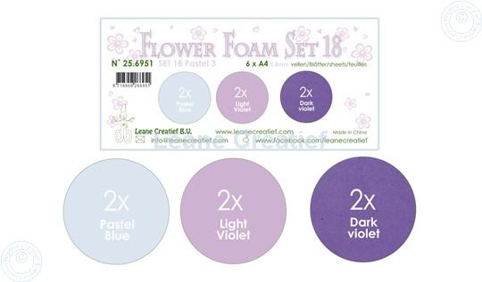 Bild von Flower Foam Set 18 /6x A4 Blatt /3 Farbtöne Pastel 3