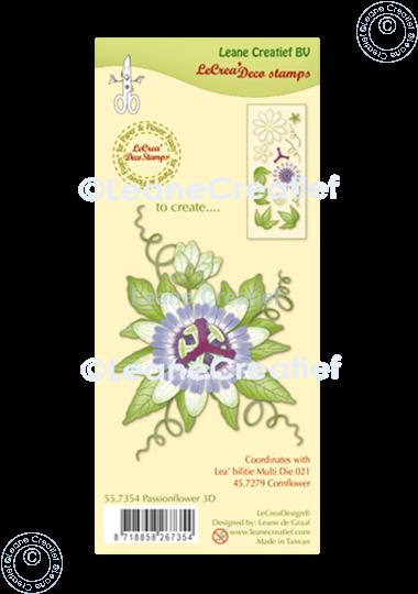 Afbeelding van LeCreaDesign® combi clear stamp Passiebloem 3D