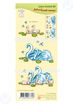 Picture of LeCreaDesign® combi clear stamp Swan family