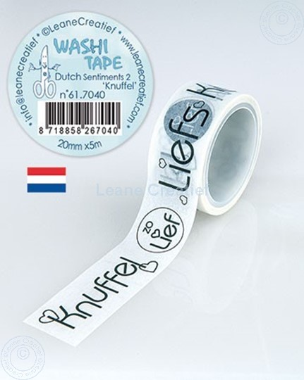 Picture of Washi tape Dutch Sentiments 2. Knuffels 20mm x 5m.
