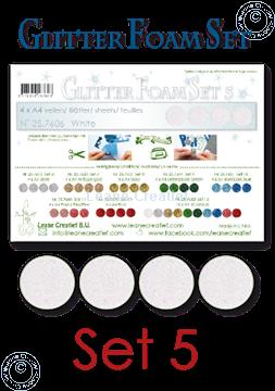 Image de Glitter Foam set 5, 4 feuilles A4 Blanc