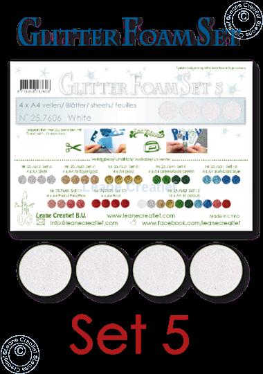 Image sur Glitter Foam set 5, 4 feuilles A4 Blanc