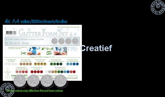 Image sur Glitter Foam set 6, 4 feuilles A4 Argent
