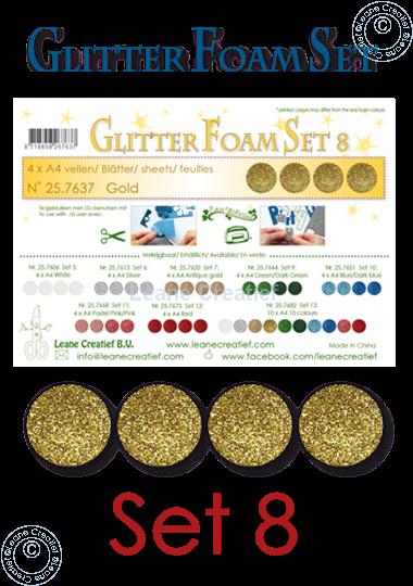 Image sur Glitter Foam set 8, 4 feuilles A4 Or
