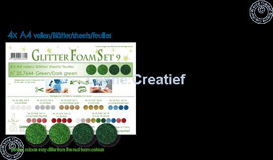 Image sur Glitter Foam set 9, 4 feuilles A4 2 verts et 2 vert foncé