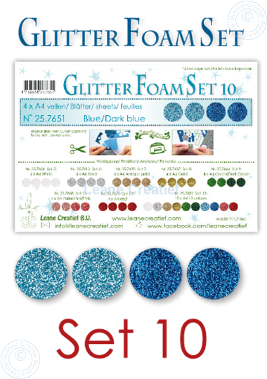 Image sur Glitter Foam set 10, 4 feuilles A4 2 bleus et 2 bleu foncé