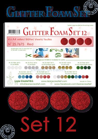 Image sur Glitter Foam set 12, 4 feuilles A4 Rouge