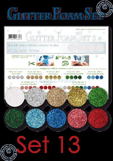 Image sur Glitter Foam set 13, 10 feuilles A4 couleurs différentes