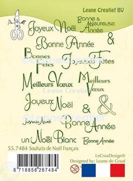 Afbeeldingen van LeCreaDesign® clear stamp met Franstalige Kerst & Nieuwjaar wensen